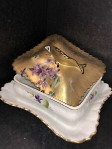 Vintage square Covered Serving Dish Flowers fish shape Handel gold lid Germany