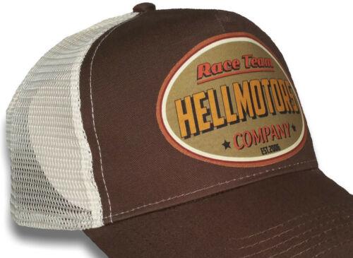 Hellmotors Vintage Race Team Trucker Cap V8 Hotrod Oldschool Kappe Biker Basecap