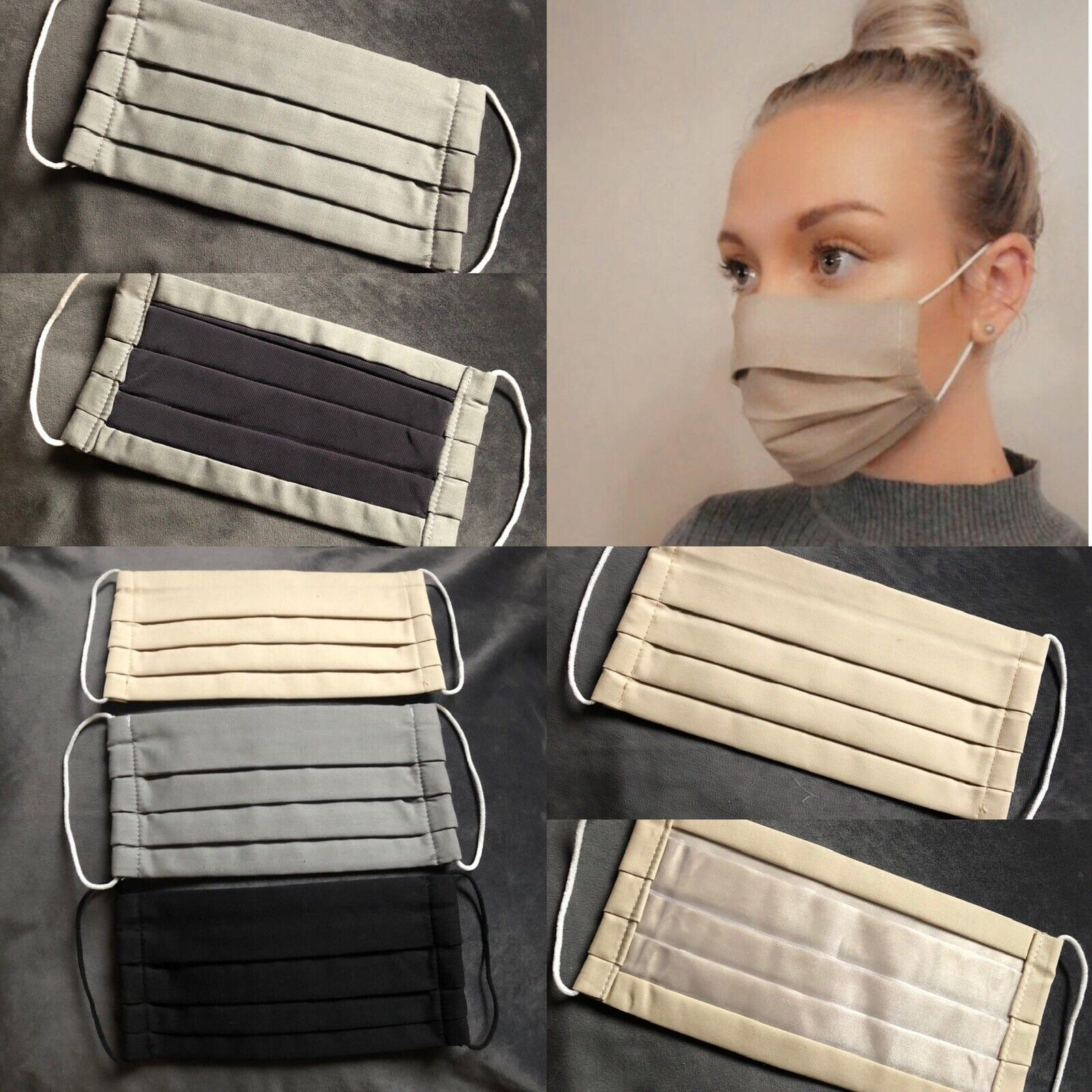 X3 2 ply face mask Trio Multipack Cotton Washable Nose Wire Nude Grey Black