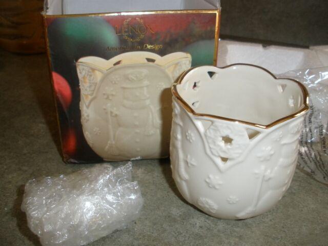 NEW Lenox Merry Lights Votive Tea Light Candle Holder Snowman Christmas