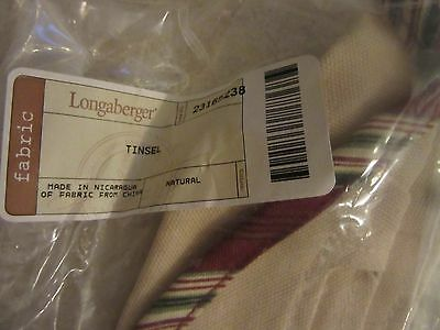 New Longaberger Tinsel Fabric Liner In Holiday Stripe For Basket
