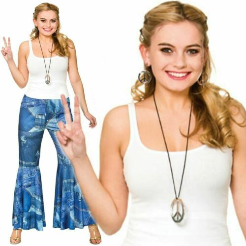 Ladies 60s 70s Hippy Funky Jeans Power Bell Bottom Flares Trousers Fancy Dress