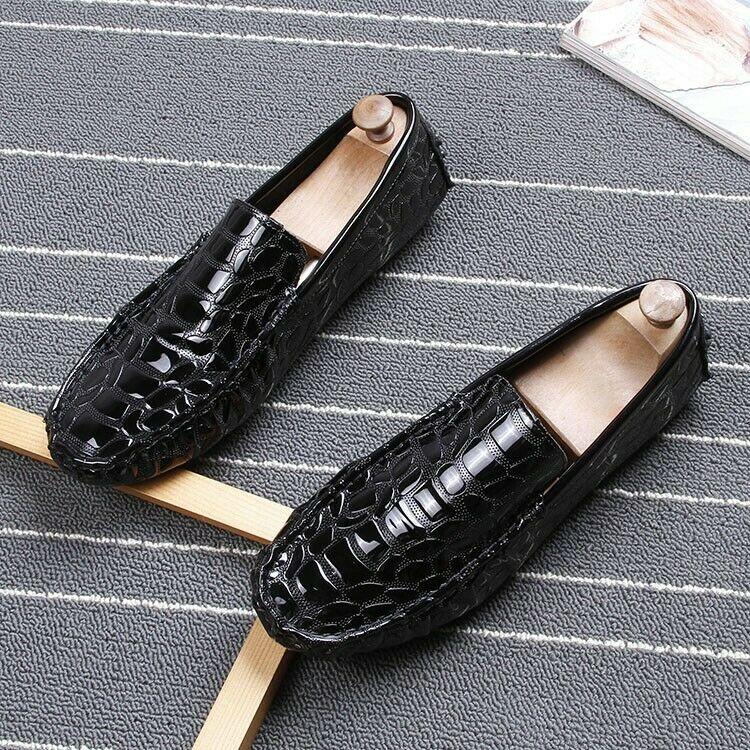 Mens Shiny Leather Non-slip Antiskid Oxfords Casual shoes SLip on Loafers shoes