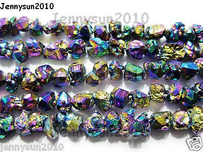 Cute Multi-Colored Metallic Titanium Coated Natural Quartz Crystal Druzy Beads