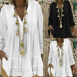 Women-V-Neck-Long-Sleeve-Pullover-Crochet-Lace-Top-Button-Tee-Loose-Shirt-Blouse