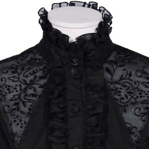 Women-Tops-Retro-Gothic-Shirt-Blouse-Lace-Ruffle-Steampunk-Victorian-Puff