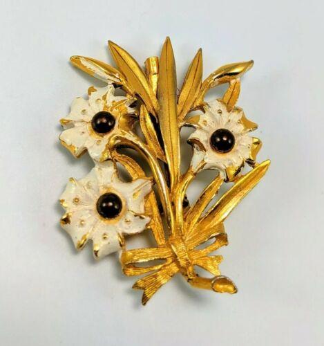 Parklane White Pink Enamel Gold Dogwood Brooch Pin Detailed Brushed Gold Mid Century Modern Vintage Jewelry Designed Signed