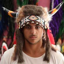 COW SKULL HEADDRESS Chief VIKING INDIAN War bonnet Costume Native American HAT