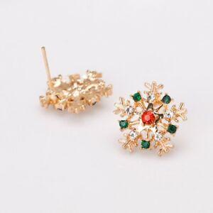 Image is loading Rhinestone-Alloy-Christmas-Snowflake -Shape-Stud-Earring-Fashion- 803aa639596b