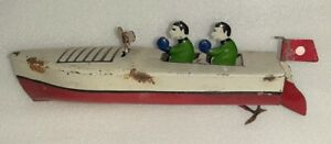 Vintage-Old-Rare-Hand-Painted-Wind-Up-Coast-Guard-Ship-Boat-Tin-Toy-Japan