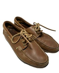 POLO RALPH LAUREN TAN LEATHER BOAT SHOES LOAFERS, 10, $385