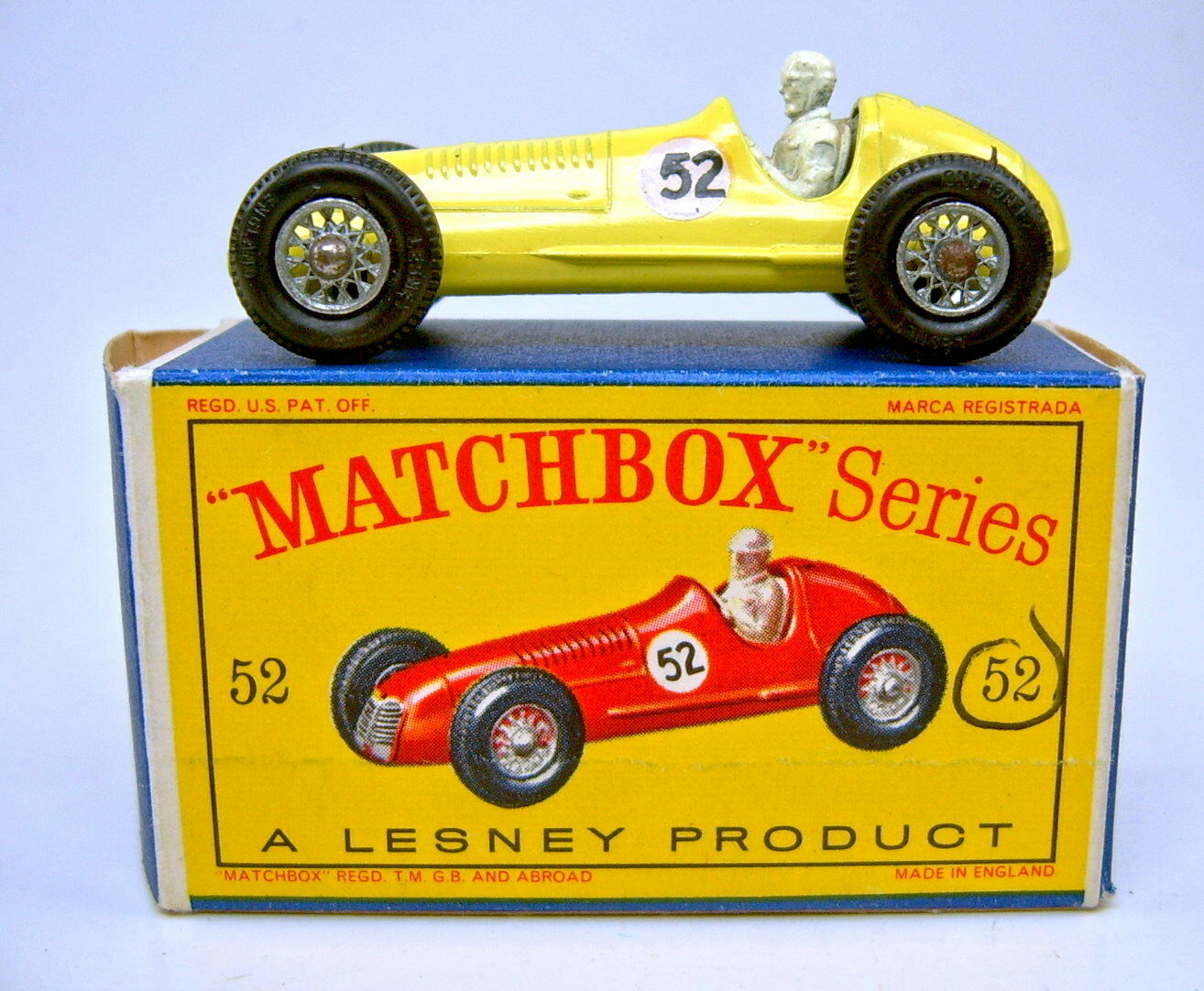 Matchbox RW 52A Maserati Racing Car yellow Nummer  52  top in  D  Box