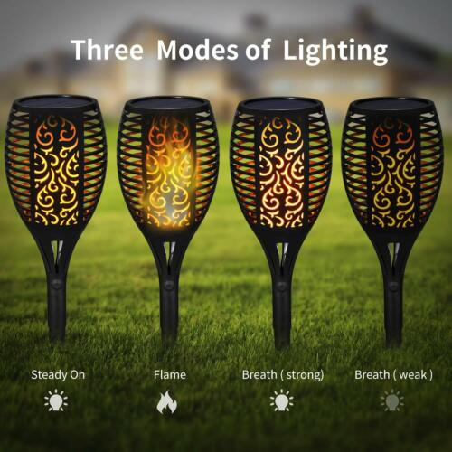 96 LED 3-Lighting Modes Solar Torch Light Dancing Flickering Flame Lamp KY