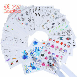 40x-Nail-Art-Water-Decals-Stickers-Transfers-Spring-Water-Effect-Flowers-Feather