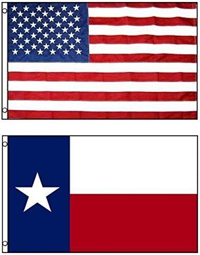 3x5 USA and 2x3 ft Texas Embroidered sewn Nylon Flag House Banner