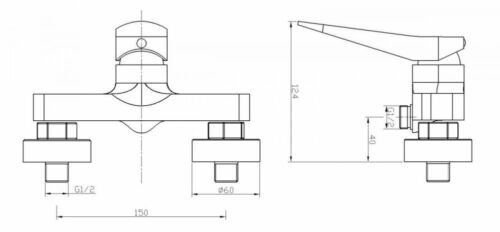 Duscharmatur Armatur Wasserhahn Mischbatterie Einhebelarmatur Einhandmischer GT1