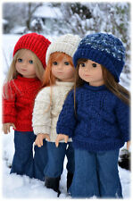 """Knitting Pattern Archipelago textured sweater w/hat for 18"""" American Girl dolls"""
