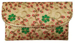 Indian-Purse-Ladies-Vintage-Traditional-Embroidery-Clutch-Bag-CL055-Red