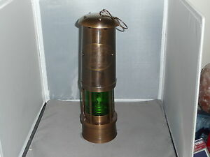 "MINER""S LAMP Brass reproduction Tall Green lens"