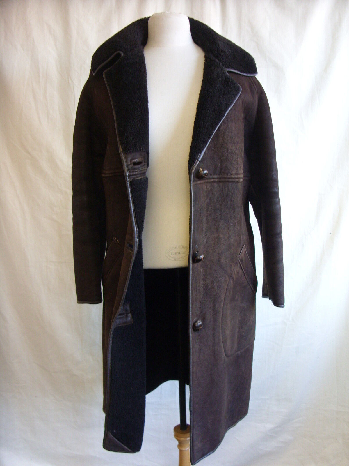 Ladies Coat - Waddingtons, size M, dark brown, suede sheepskin, tired worn 2286