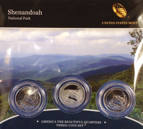 2014 25C Shenandoah National Park 3-coin Mint Set in Mint Packaging with COA