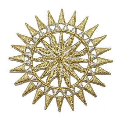 ID 1926 Sun Dial Nautical Compass Astrological Design Iron On Applique Patch