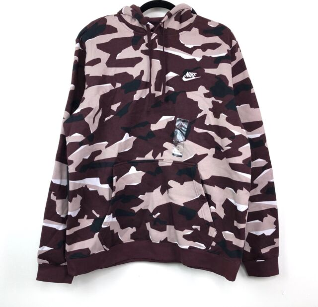 NWT NIKE Men/'s CAMOUFLAGE Fleece Hoodie Sweatshirt MAROON BLACK OFF WHITE