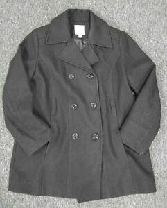 Croft-amp-Barrow-Black-Peacoat-Jacket-Button-Up-size-EXTRA-LARGE