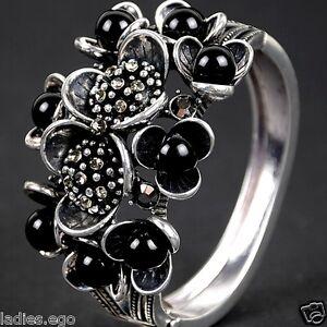 exclusif-FLORENTIN-bracelet-bracelet-perles-antique-dore-optique-3D-Fleurs-Noir