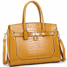 8396b6b4a554 item 8 New Women Croco Embossed Leather Padlock Work Satchel Handbag Tote  Bag Day Purse -New Women Croco Embossed Leather Padlock Work Satchel Handbag  Tote ...