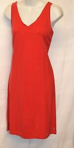 TOMMY-HILFIGER-DRESS-SLEEVELESS-XL-RED-KNEE-LENGTH-100-COTTON-CASUAL-SOLID