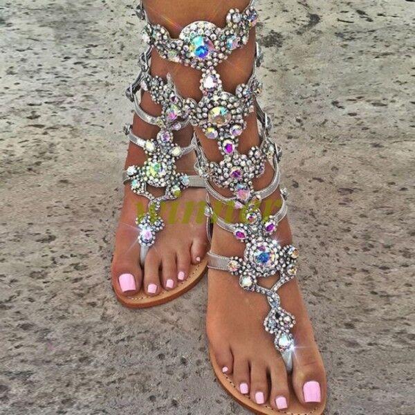 Gladiator Rhinestone Bling Strap Back Zip Sandals Flats Womens Wedding Shoes Sz