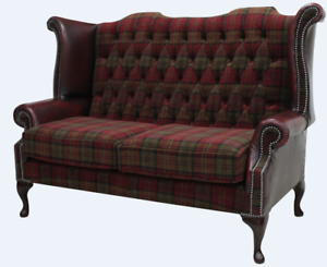 Details about Chesterfield 2 Seater Queen Anne High Back Sofa Lana  Terracotta Oxblood Leather