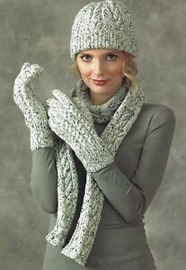 LADIES HAT SCARVES & GLOVES KNITTING PATTERN DOUBLE KNIT ...