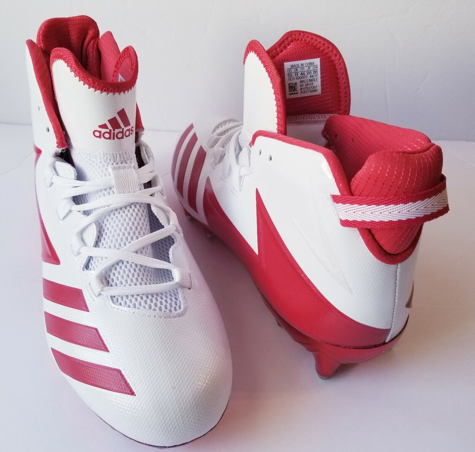 cheap for discount 7e162 bc218 Adidas Men s Freak X Carbon High Cleats shoes BW1418 11.5 White Red sz  Football nwpmwo4245-Men