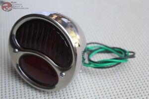 Custom Motorcyle Hot Rod Truck Tail Light License Lamp Stainless Glass Red Lens