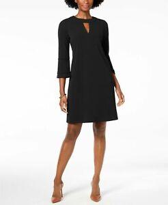 Charter-Club-Women-039-s-NEW-Black-Crepe-Shift-Dress-Back-Keyhole-Size-X-Small-79