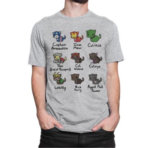 Avengers Cats Funny T-Shirt Men/'s Women/'s All Sizes Marvel Tee