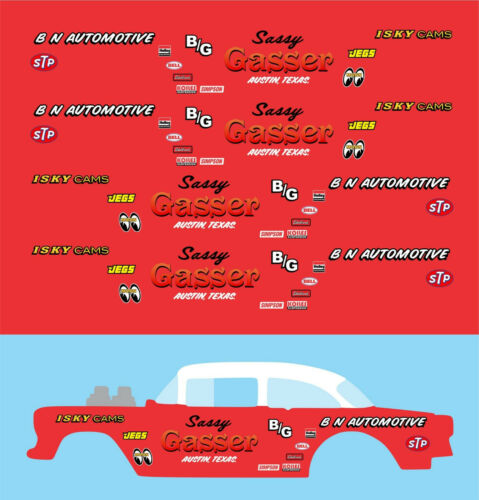 Hot wheels 1//64 Decals  /'55 Chevy Gasser SASSY GASSER 093