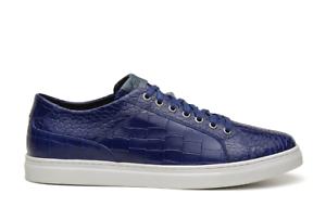 NEW Studio Belvedere Mens Dress Sneakers Bernardo Blue Genuine Calf Leather
