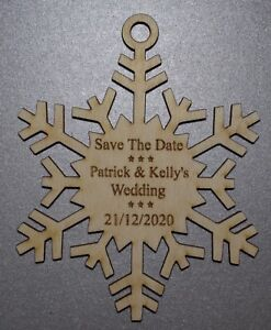 12cm-Personalised-Wooden-Snowflakes-Wedding-Save-The-Date-Invites-or-Christmas