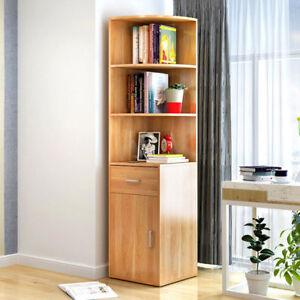 Image Is Loading Wooden Corner Book Shelf Bookcase Drawer Cabinet Display