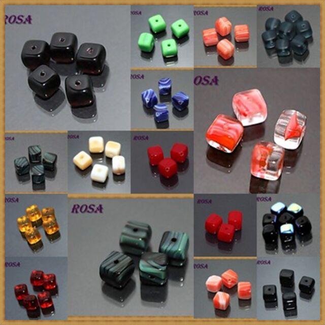 K00W Böhmische Glasperlen Würfel vielen Designs und Farben
