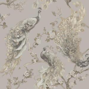 Menali-Peacock-Glitter-Wallpaper-Grey-White-Birds-Leaf-Floral-Vinyl-Holden-Decor
