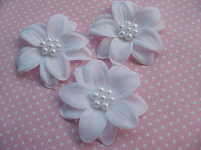 30 2-Layer Cute Pearl  Ribbon Flower/Poinsettia-White RF074