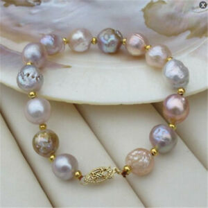 11-12mm-baroque-multicolor-south-sea-pearl-bracelet-7-5-inches-Fashion-Gift