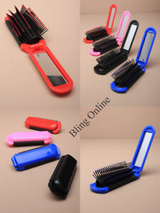Image Is Loading Small Folding Hair Brush Hairbrush With Mirror Compact
