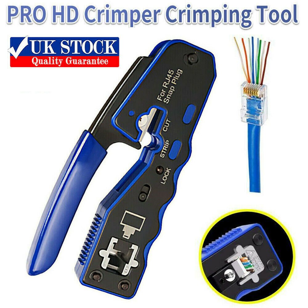 NEW Crimping Tool Crimper For RJ45 EZ Pass Through Cat 5 5e 6 7 Connector LAN UK