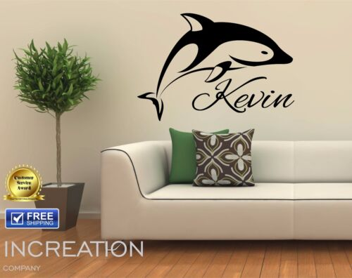 Dolphin Custom Name Wall Decal Nursery Room Vinyl Sticker Gift Present decor Art