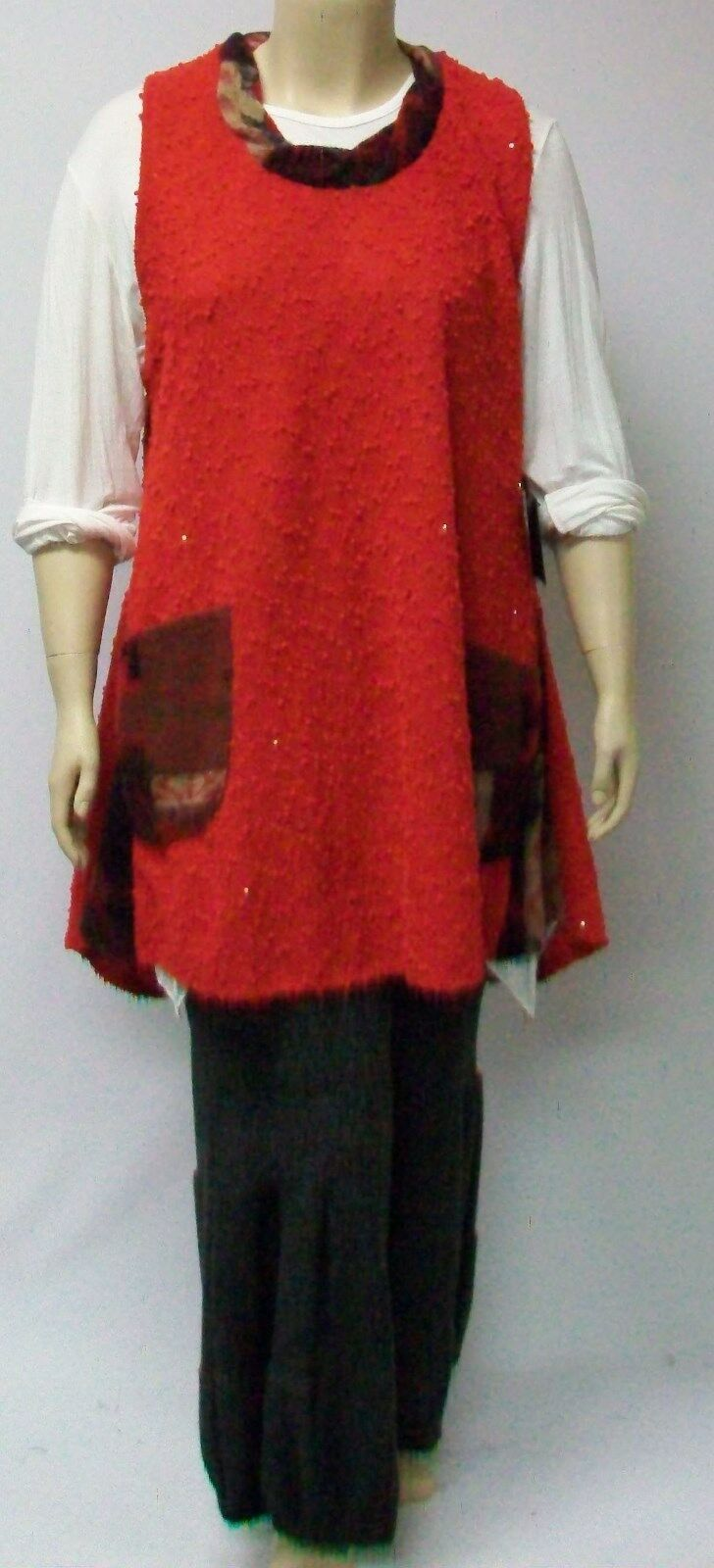 SARAH SANTOS, LARGE,WOOL BLEND TUNIC TRIMMED IN CONTRASTING WOOL TRIM,ITALIAN .